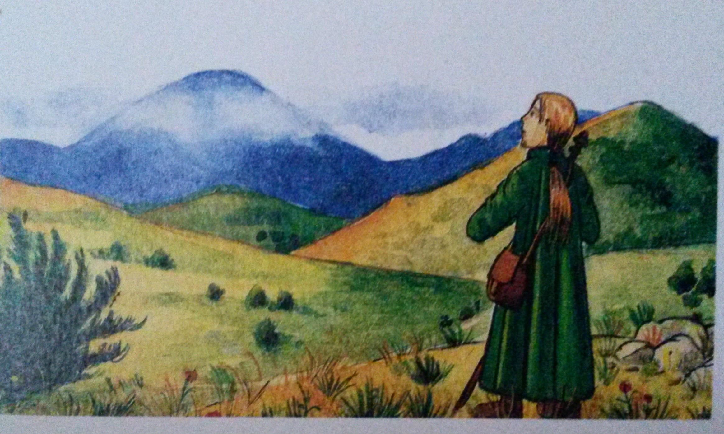 """Le Pélerin devant la montagne donc Les Pyrénées """" Le Trône du Roi """""""