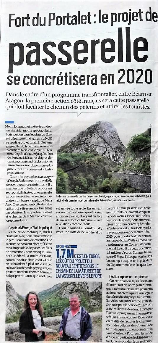 La Voie d Arles enfin Sécurisée dans la Vallée d Aspe .Un accé sécurisé pour les Pélerins sur la RN 134dans la Vallée d'Aspe